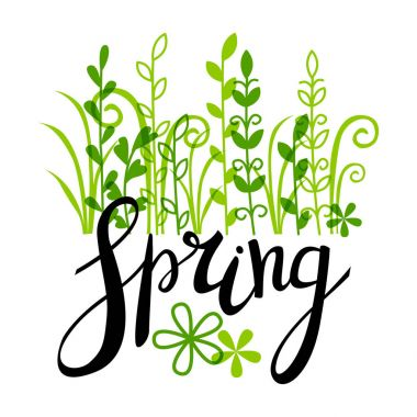 Spring lettering with green plants
