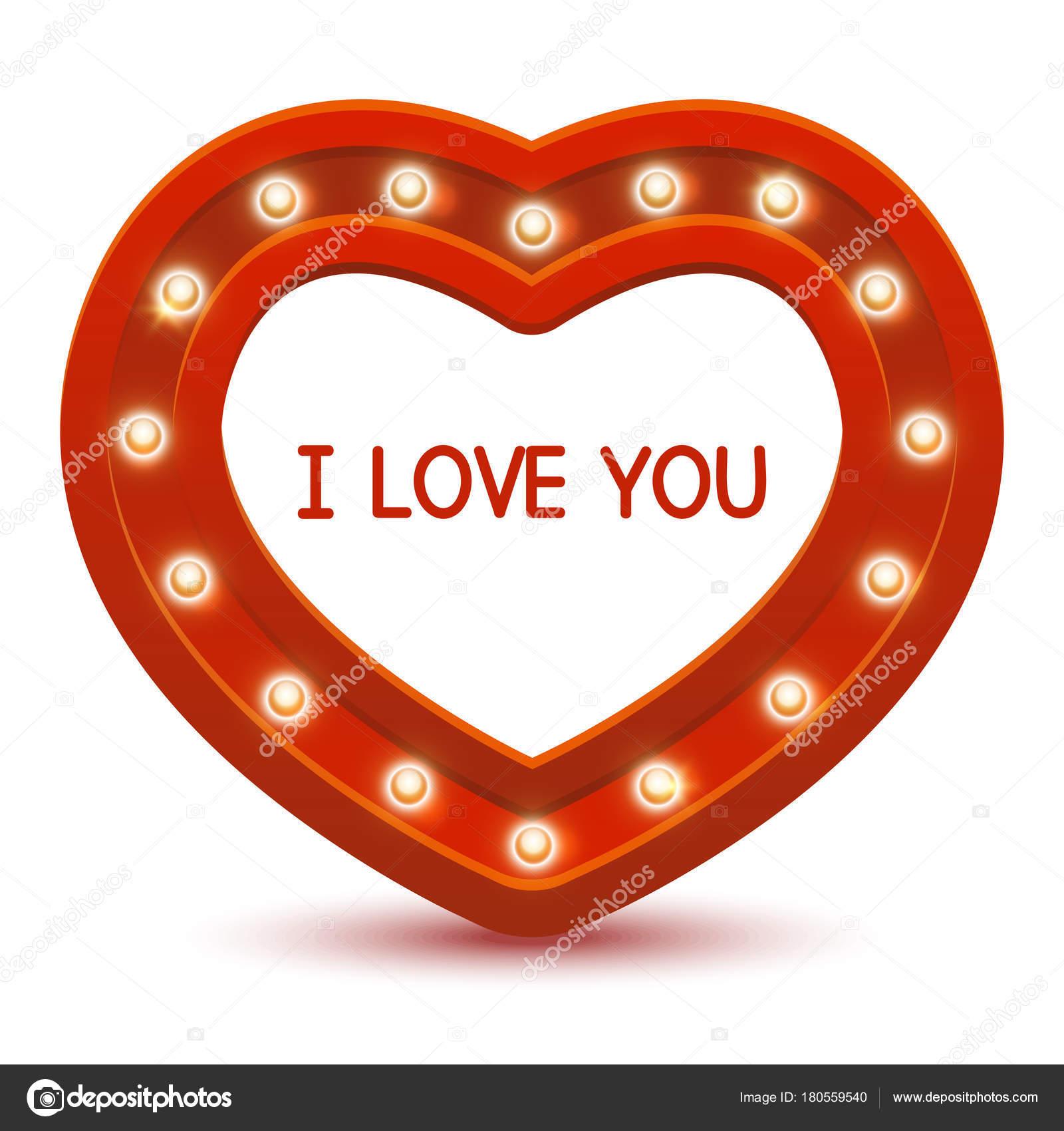 Rotes Herz Rahmen Mit Leuchtenden Glühbirnen Und Text Ich Liebe ...