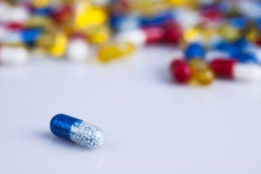 Closeup of medical capsules