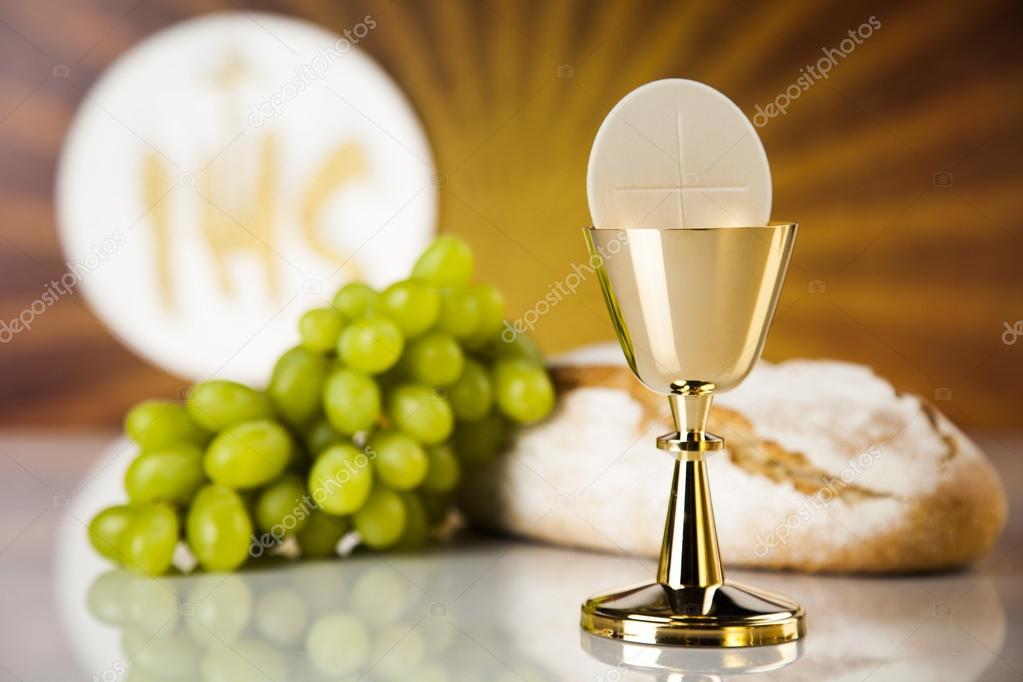 Simbolo Di Eucaristia Di Pane E Vino Calice E Ostia