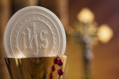 Eucharist sign with sacrament of communion background