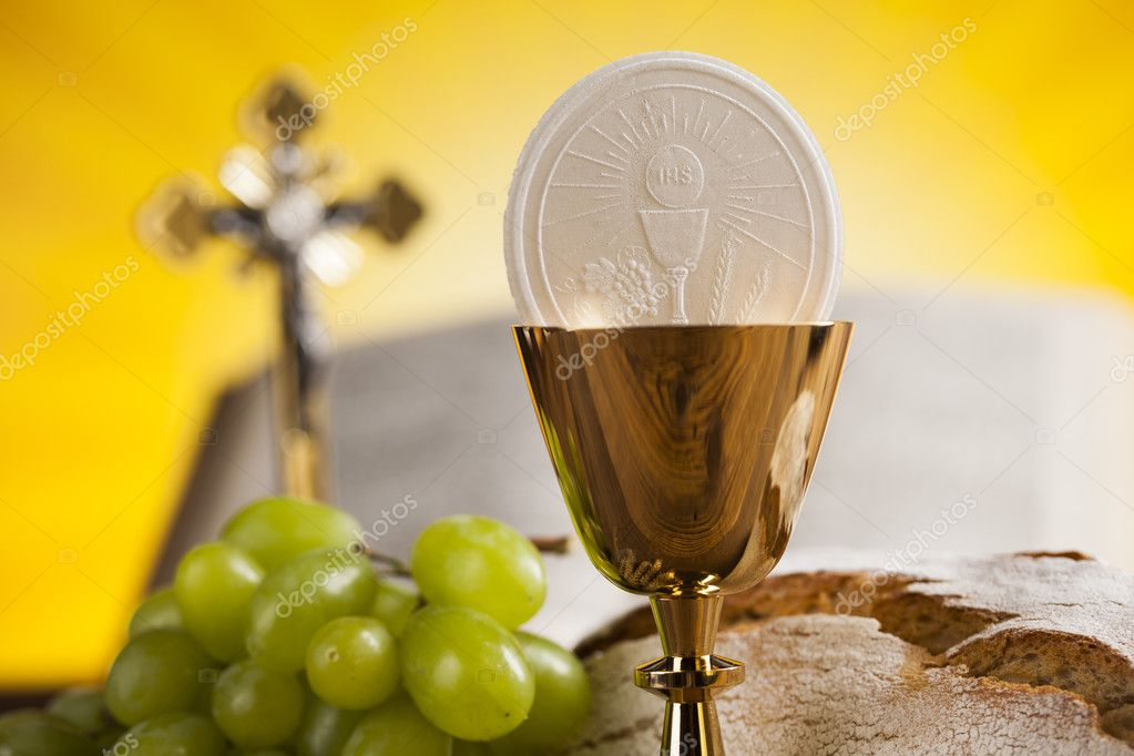Eucharist Symbol Of Bread And Wine Chalice And Host Stock Photo