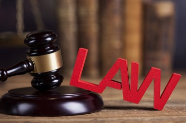 Law and justice concept with wooden gavel