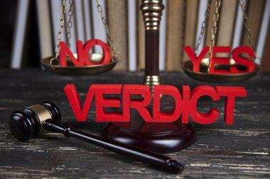 Verdict in justice concept