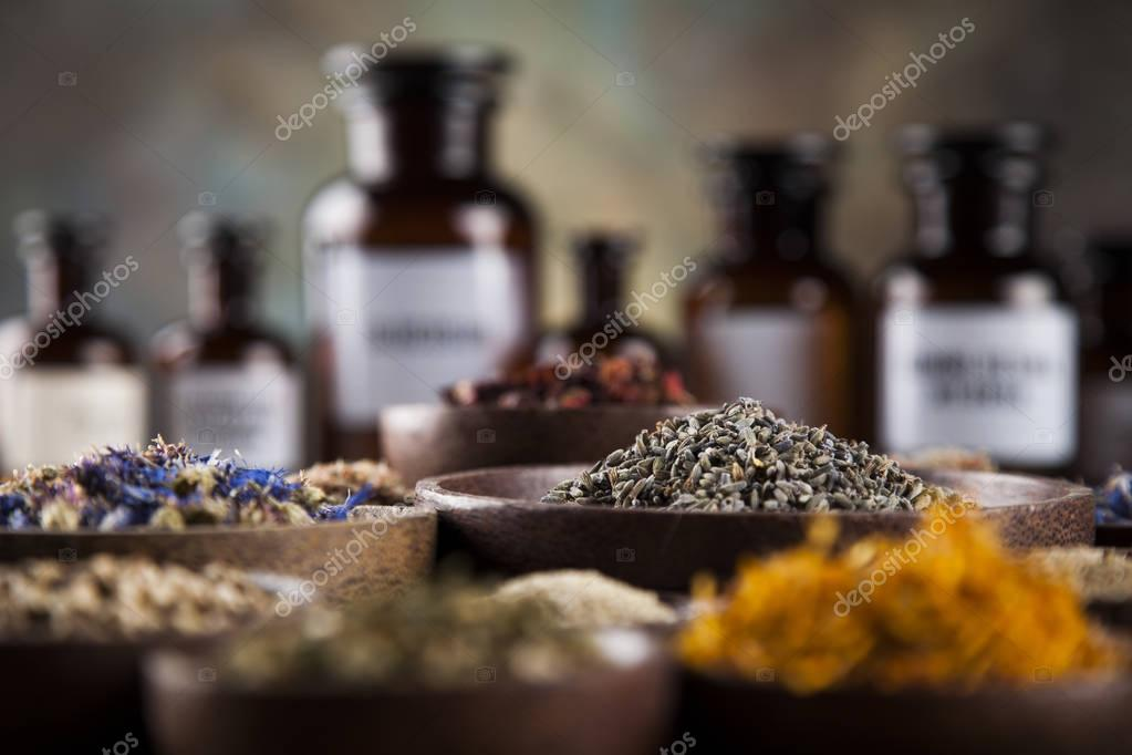 Herbal medicine on wooden desk