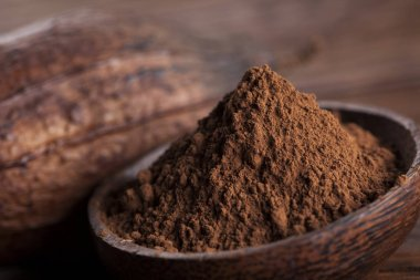 Cocoa pod and cocoa beans