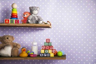 toys in bedroom on shelves