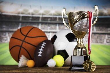 Cups of winners award, Sport equipment and balls