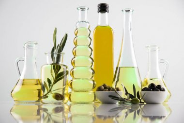 Olive oil bottles, olive branch and Cooking oils stock vector