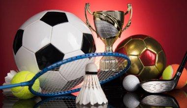 Trophy, Winning, Award. sport ball background stock vector