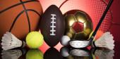 Sportlabdák felszereléssel, győztes háttér