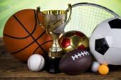 Vítěznou trofej mistrovství award, sportovní stadion pozadí