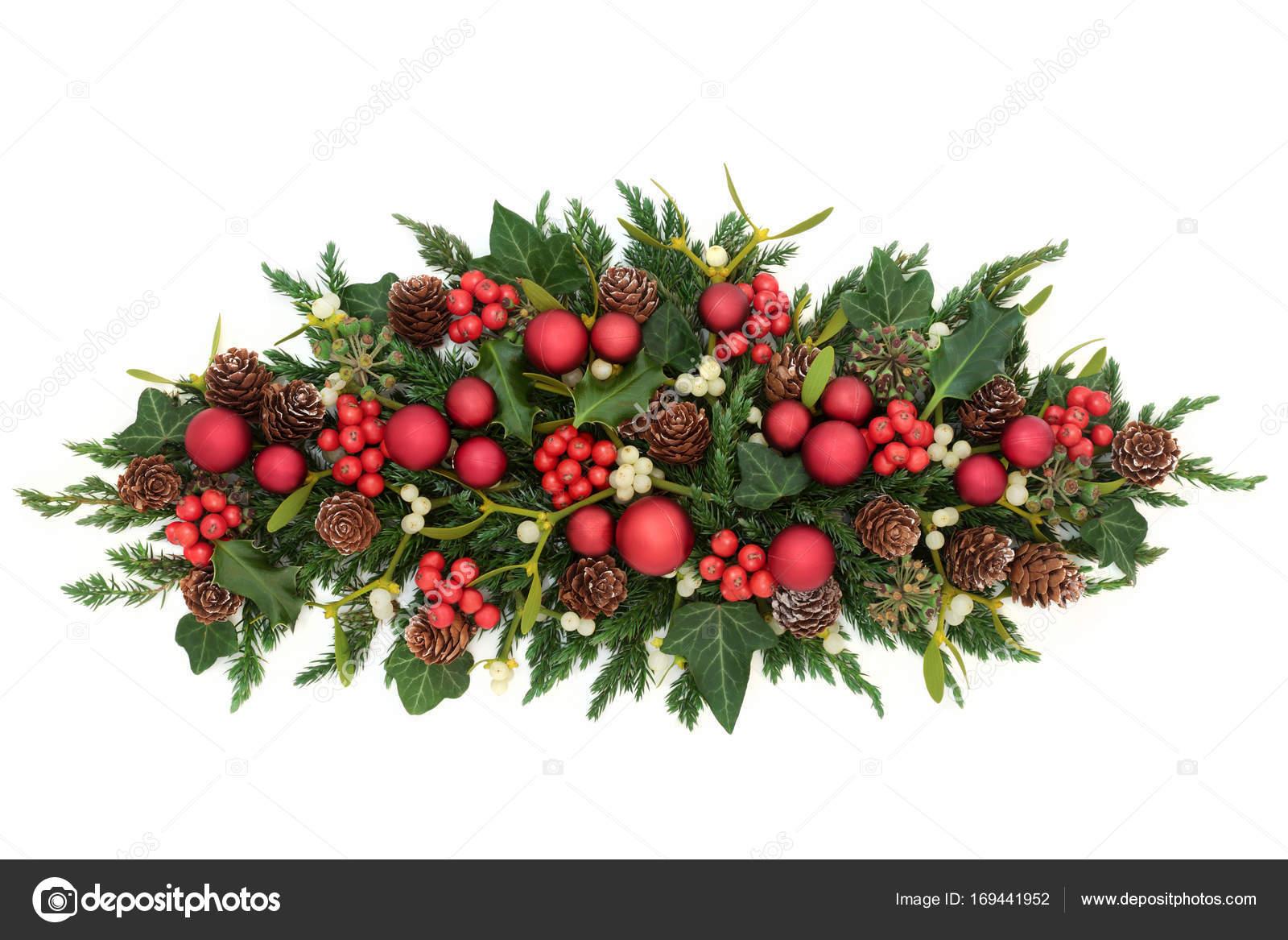 Kerstdecoraties Met Rood : Kerstdecoratie met rode kerstballen u stockfoto marilyna