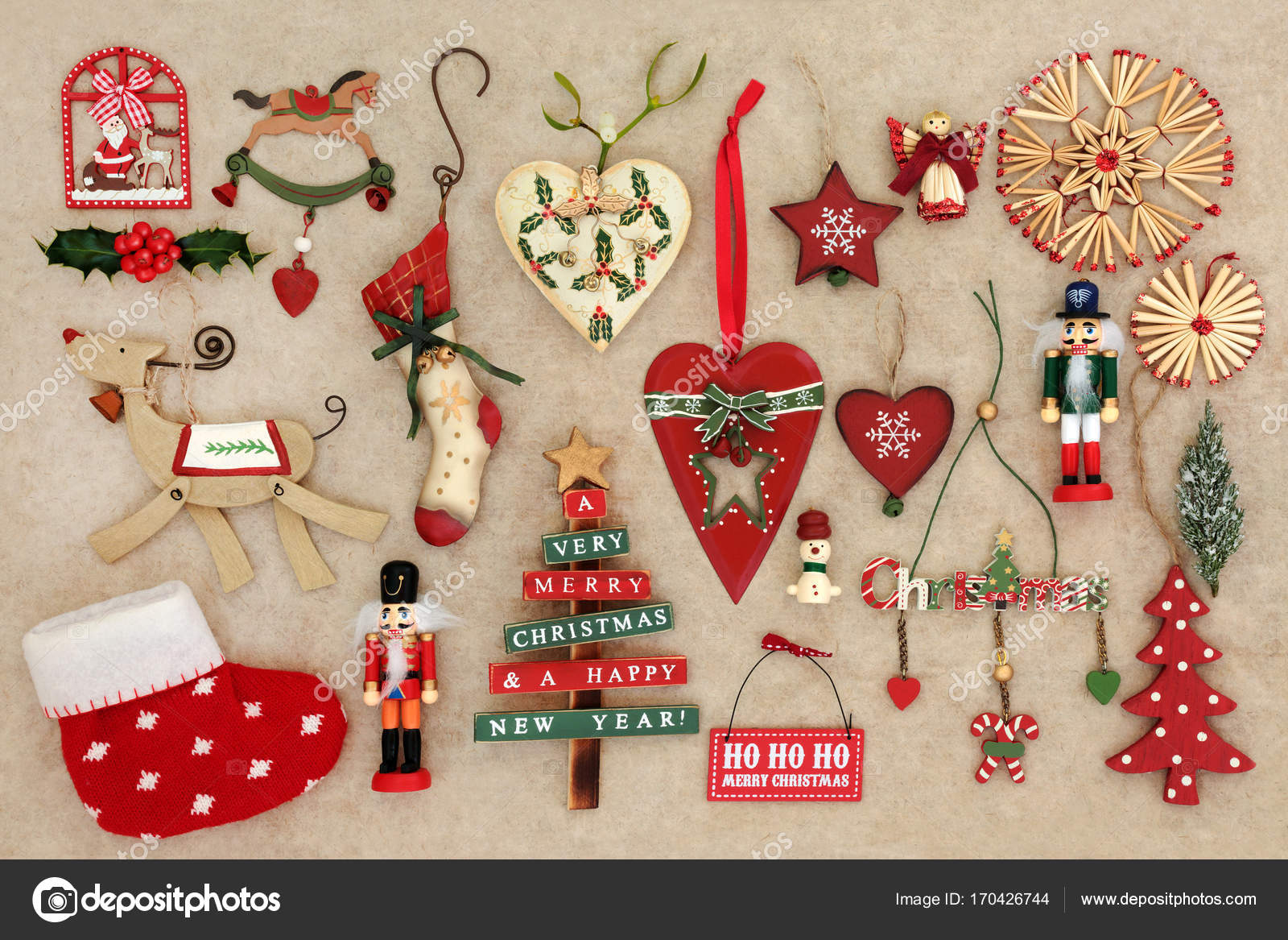 Old Fashioned Christmas Decorations — Stock Photo © marilyna #170426744