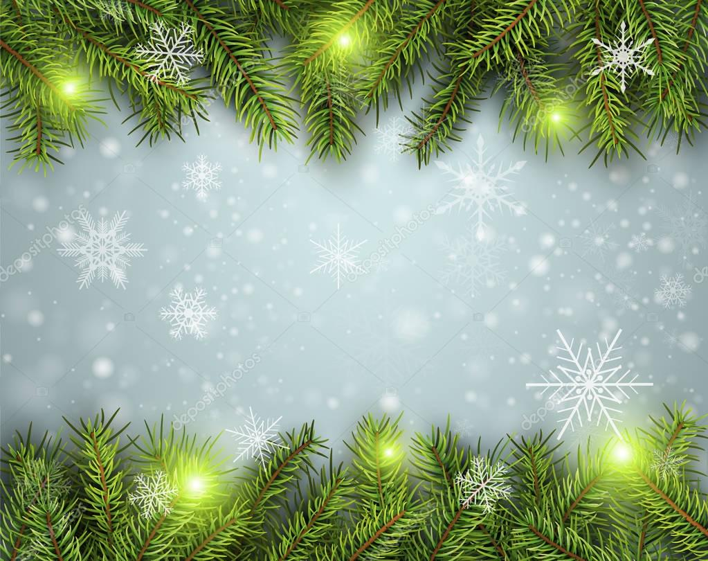 Christmas background, pine tree with lights