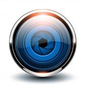 Modrý lesklý tlačítko