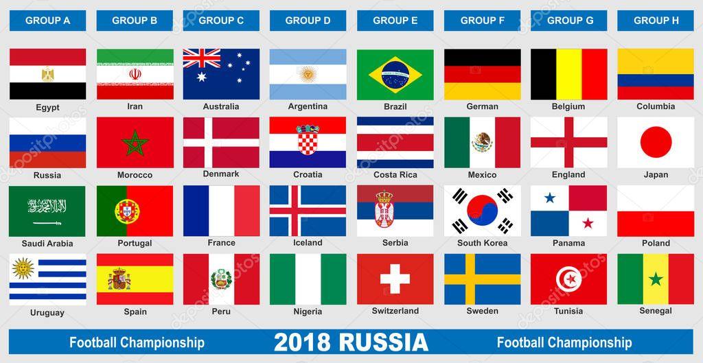 Fussball Weltmeisterschaft 2018 Flaggen Stockvektor