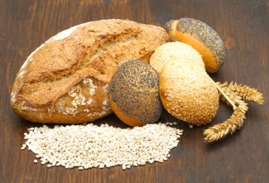 Healthy multi grain bread on wood stock vector