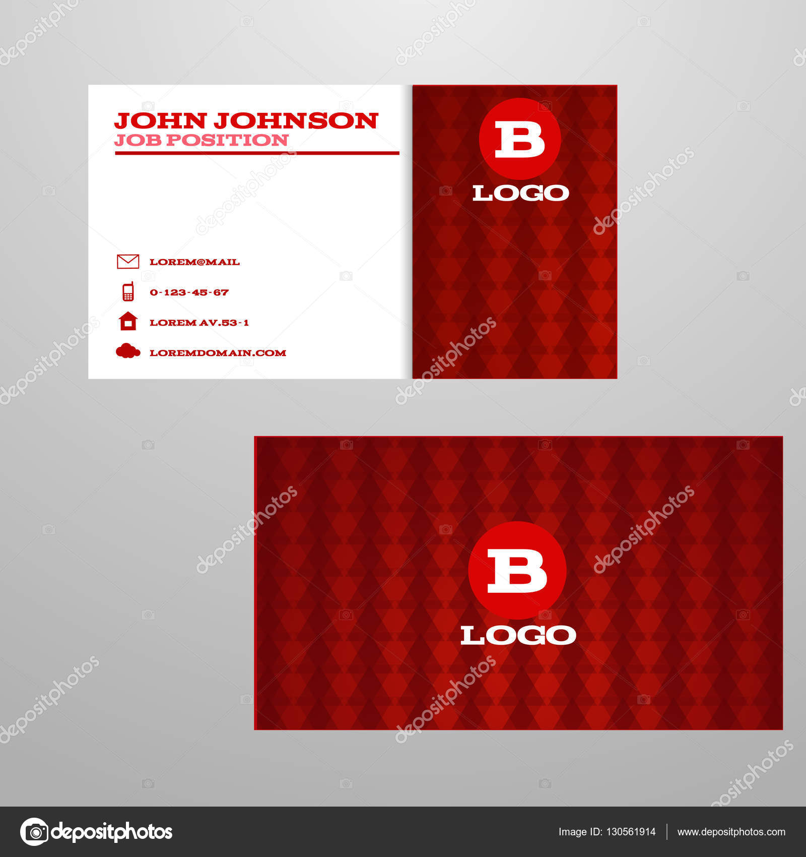 Creation Cartes De Visite Rouges Vector Illustration Eps 10 Stock