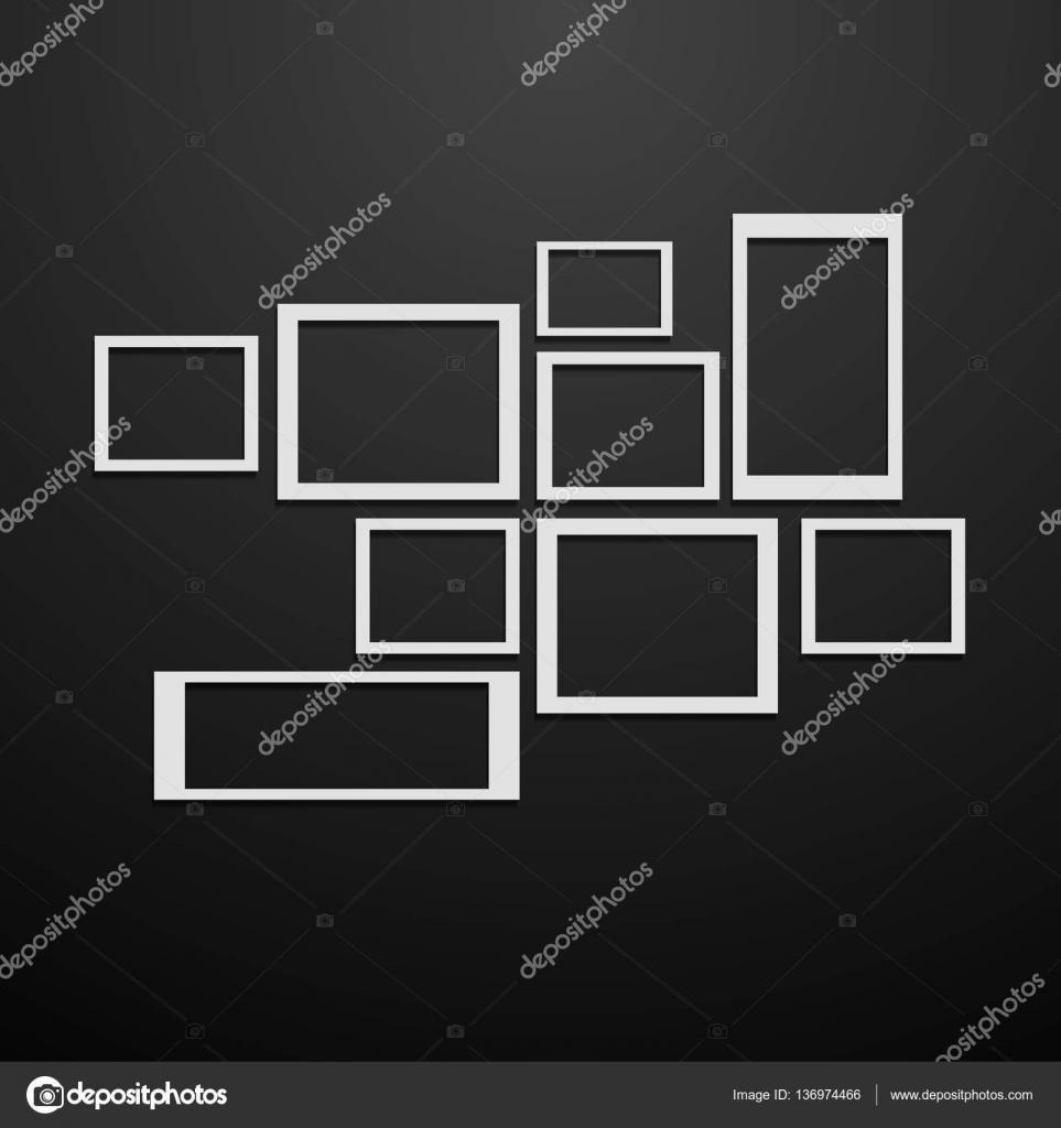 Blanco Marcos vector de pared negro collage maqueta eps 10 — Vector ...