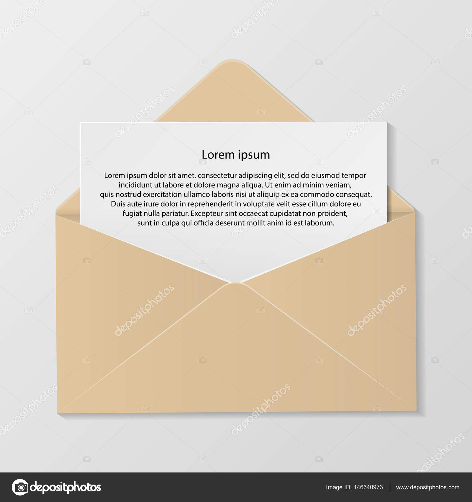 Open colour envelope with invitation card realistic mockup isola open colour envelope with invitation card realistic mockup isola stock vector stopboris Choice Image