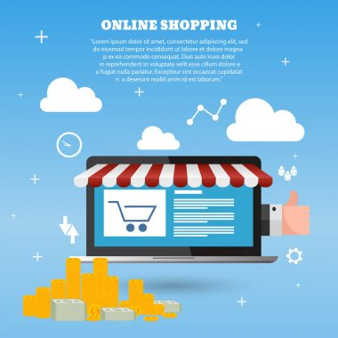 Online store concept on laptop screen vector eps 10 template