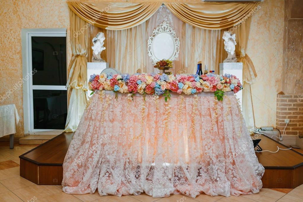 Dekoration Einer Hochzeit Prasidium Tabelle Auf Dem Bankett In
