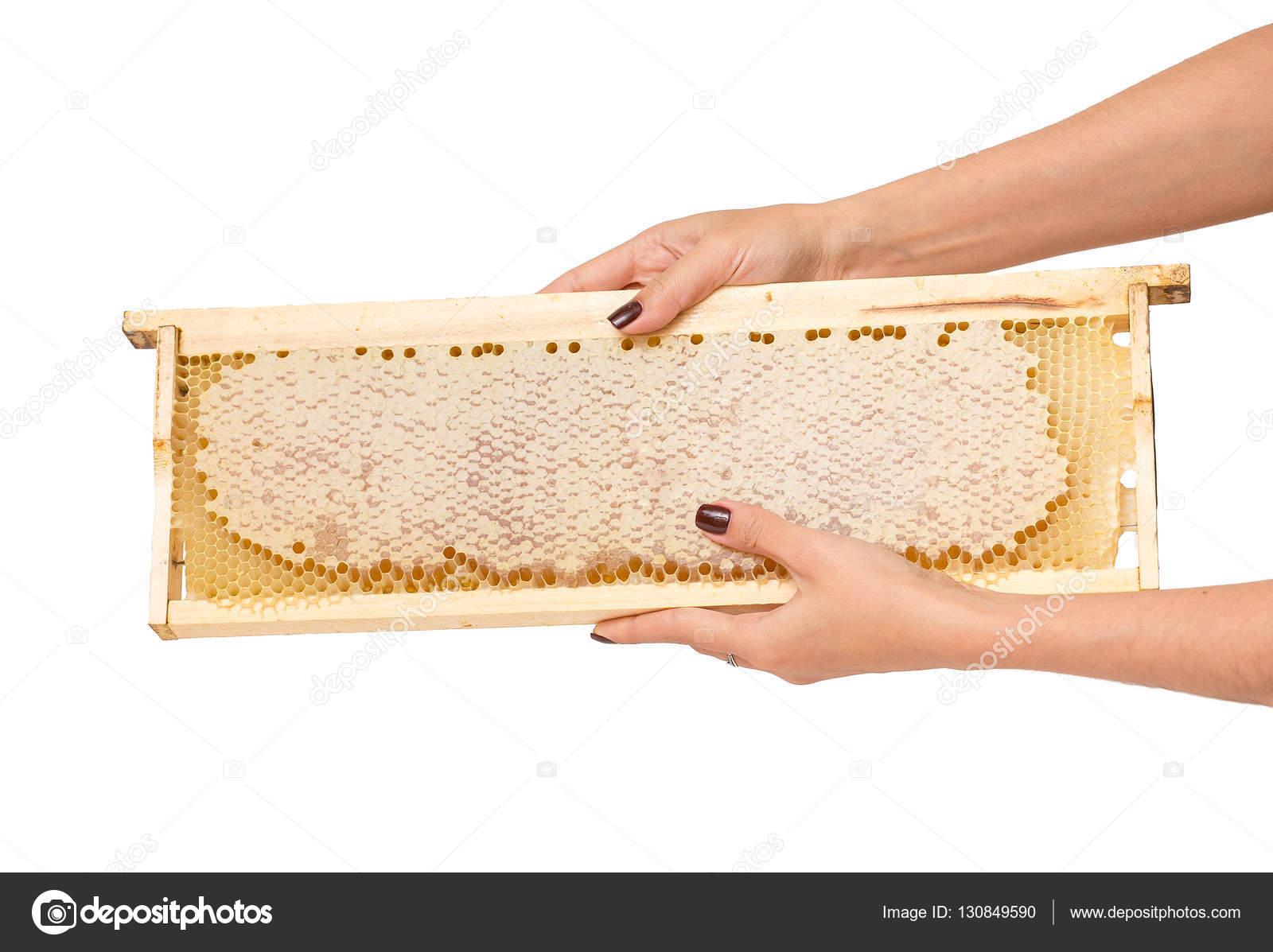 Manos de mujer con manicura con marco de madera del panal con miel ...