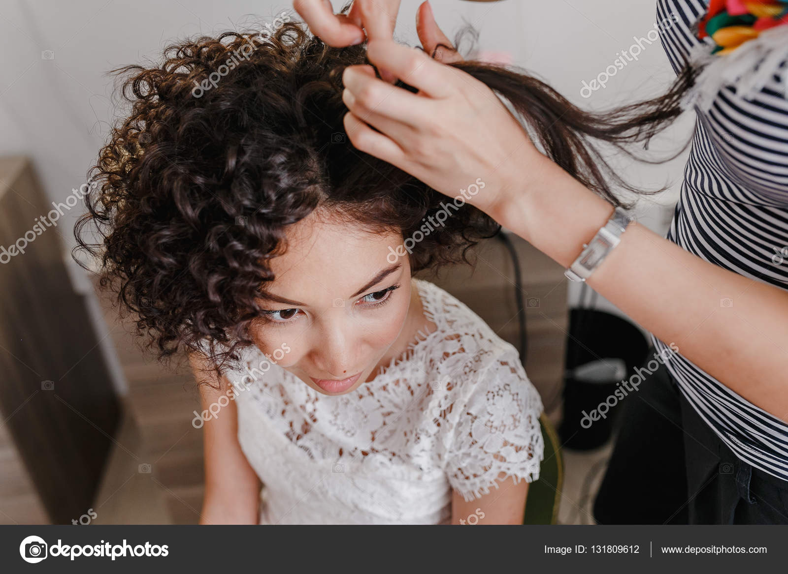 Professional Hairdresser Artist Making Curly Hairstyle To Charming