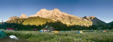 Panoramic morning view of the camp Fischt. Russia, Caucasus