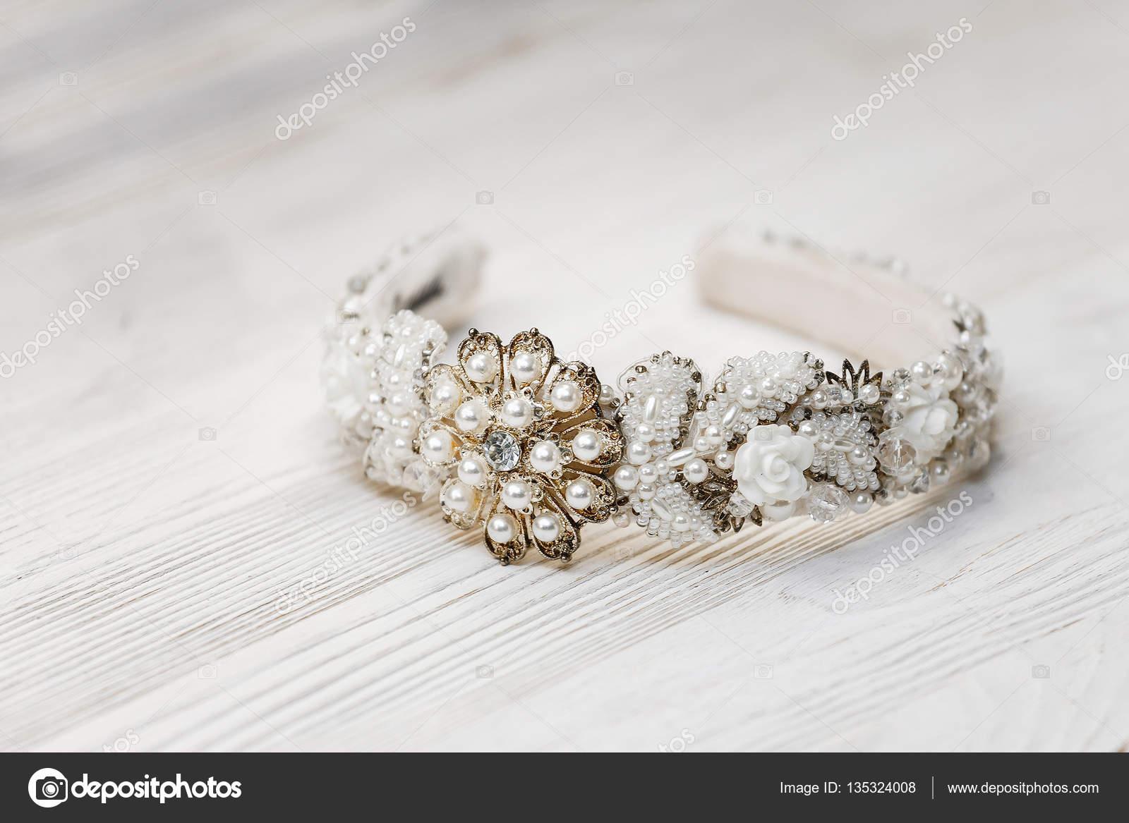 Luxury Jewelry Handmade Tiara With White Stones Crystals And