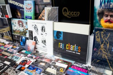 PRAGUE, CZECH REPUBLIC - 18 MARCH, 2017: Showcase of a music store with album covers Ray Charles, Led Zeppelin and many other artists
