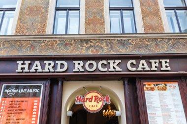 PRAGUE, CZECH REPUBLIC - 18 MARCH, 2017: Sign board Hardrock cafe in the center of Prague