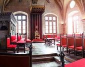 Praha, Česká republika - 18 března 2017: Vladislavský sál interiér v starého Pražského hradu. V tomto sále byly důležité historické události, turnaje a hostiny
