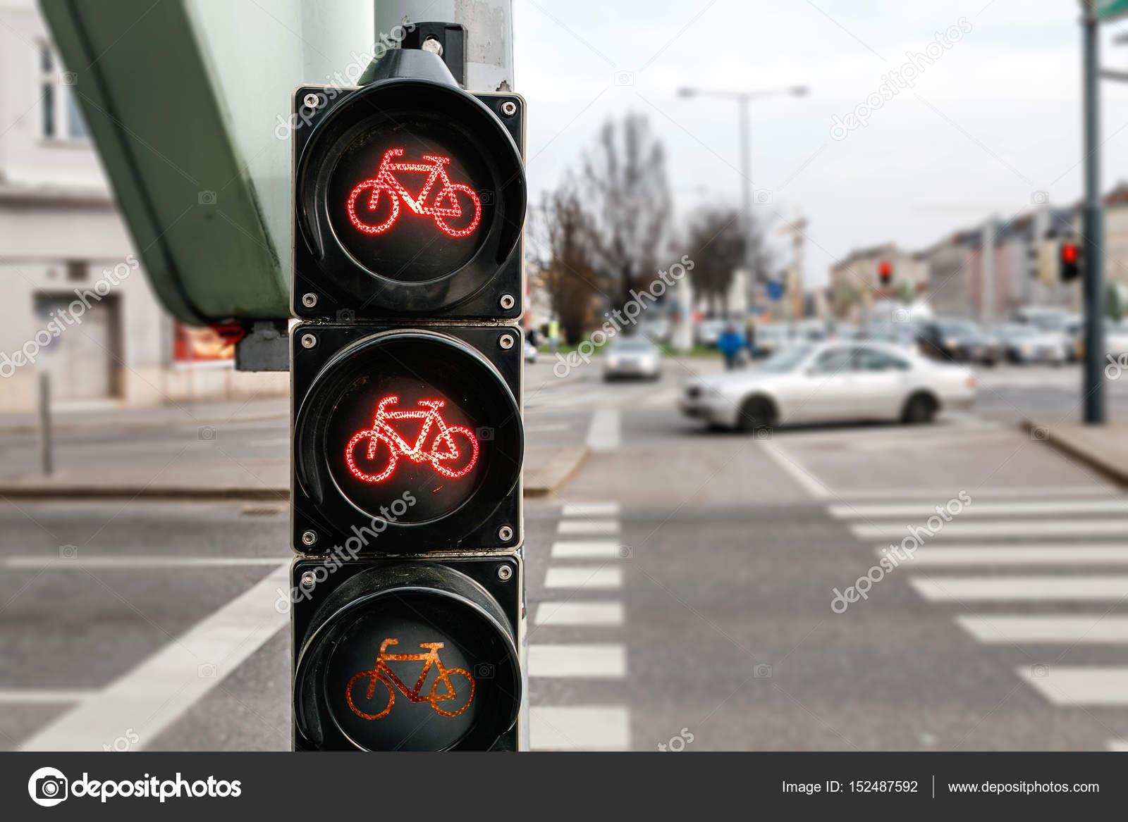 Roten Fahrrad Ampel Auf Dem Stadt Straße Hintergrund Stockfoto