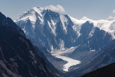 Panoramic view of the long tongue of the Glacier Maashei in the Altai Mountains