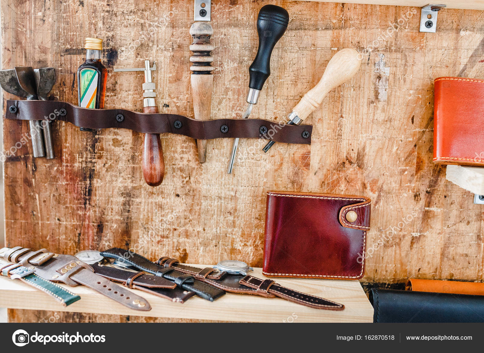 Vintage Leather Craft Tools On A Wooden Background In Shop Stock