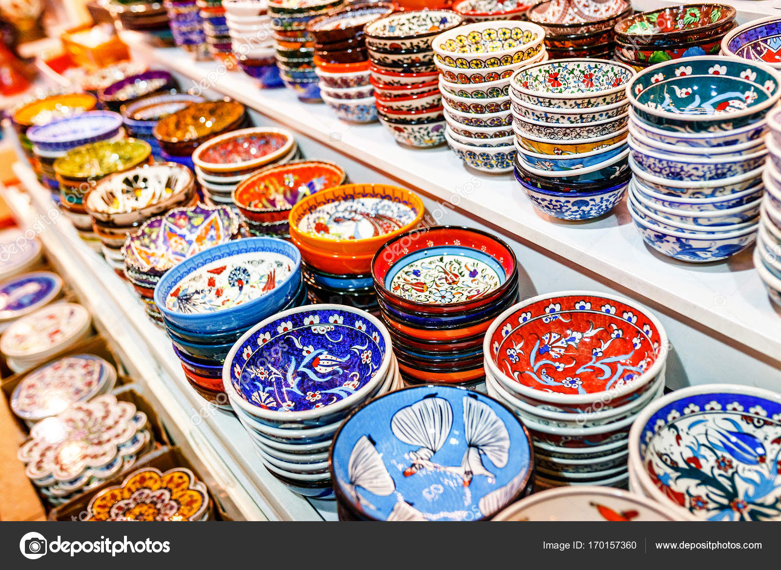Traditional handmade Turkish colorful ceramic plates on the market for sale u2014 Stock Photo & Traditional handmade Turkish colorful ceramic plates on the market ...