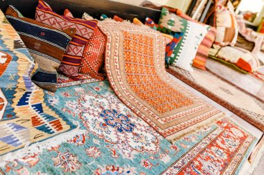 Colorful handmade oriental rugs and carpets at the bazaar