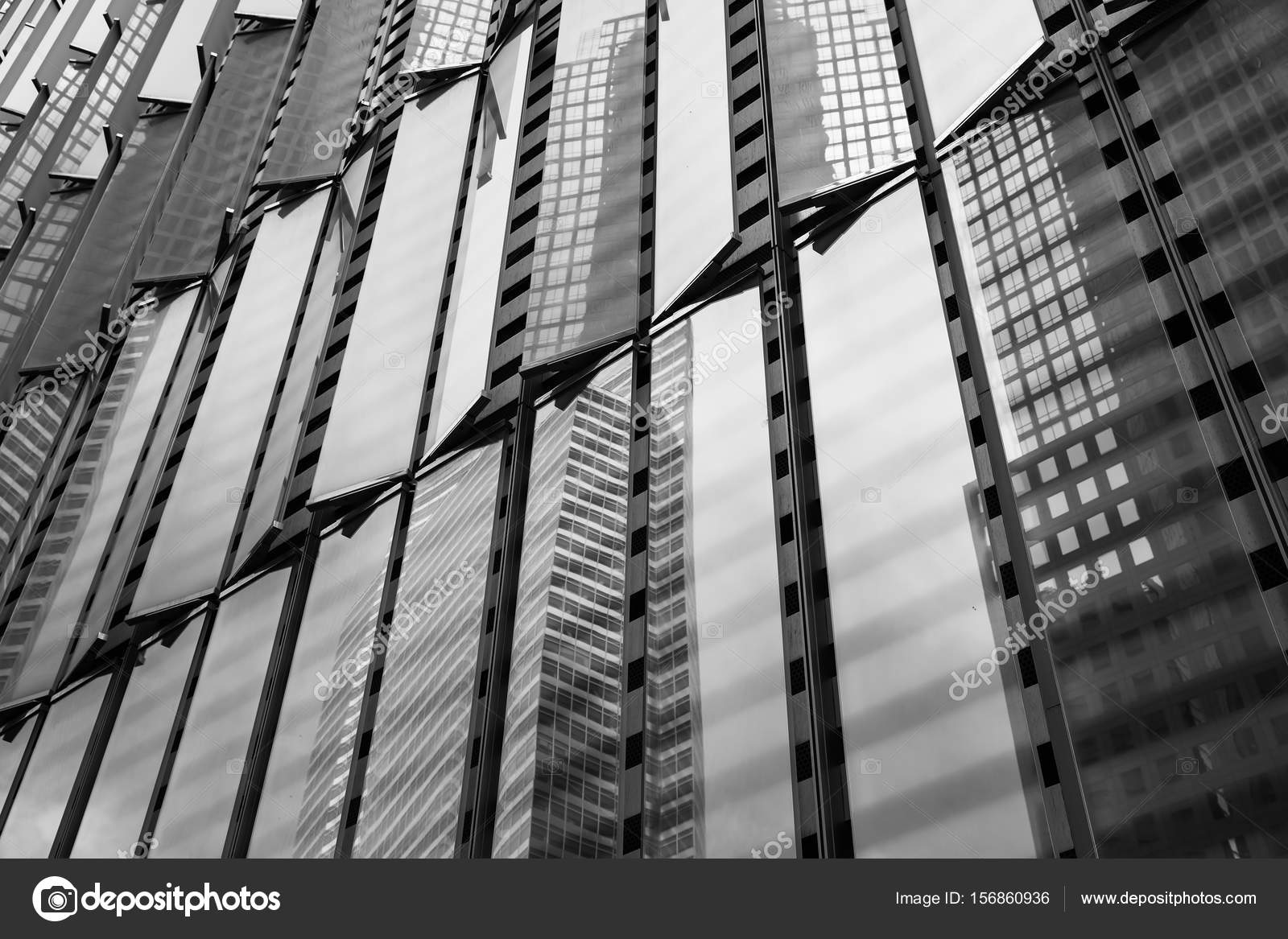 black and white fragments of manhattan modern architecture – stock