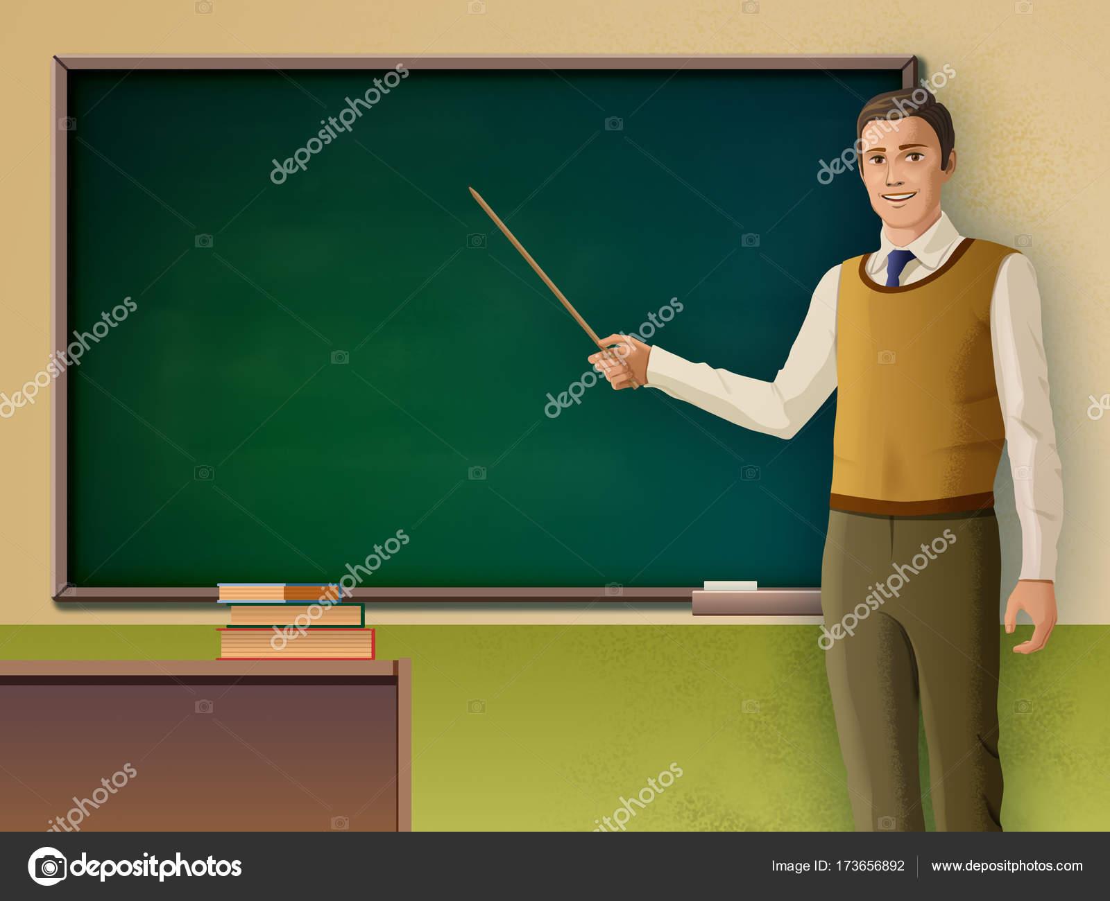 Enseignant de sexe masculin pointant sur un tableau noir