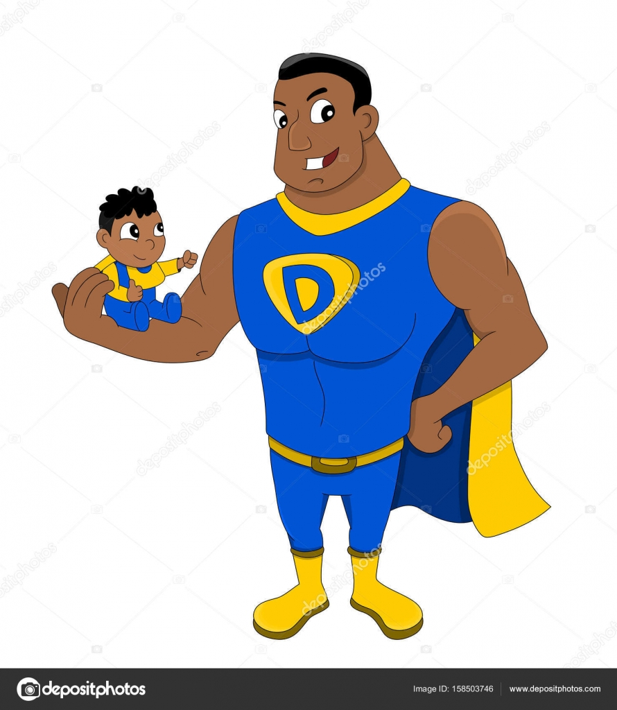 Pictures Super Dad Cartoon Superdad And A Child Cartoon Stock