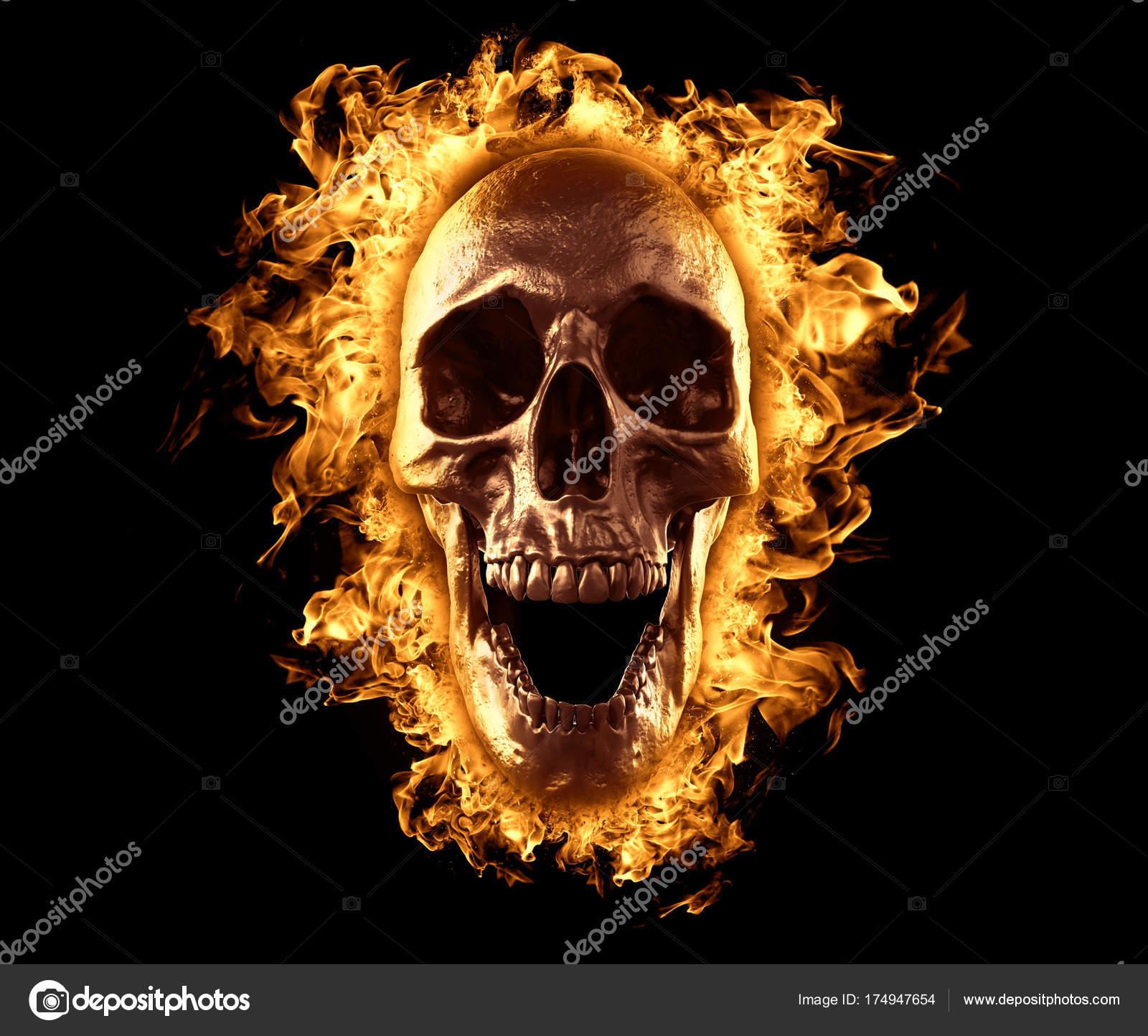 Wallpapers 3d Skull Wallpaper Skull Burned Fire Isolated