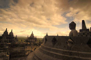 borobudur,very famous landmark in java, indonesia during sunset