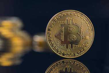 bitcoin currency, coin close up