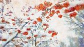 winter red rowan berries and tree branches watercolor illustration background