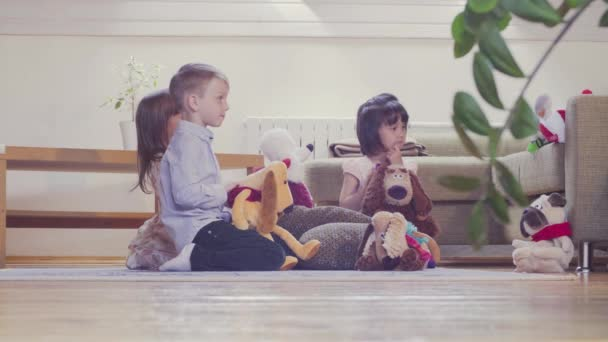 A group of children playing stuffed toys