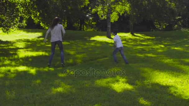 Maminka a boy hrát chyt-nahoru na glade