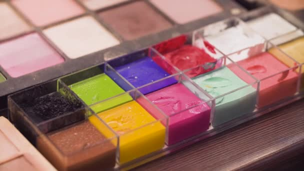 Palette with colorful paints for art make-up