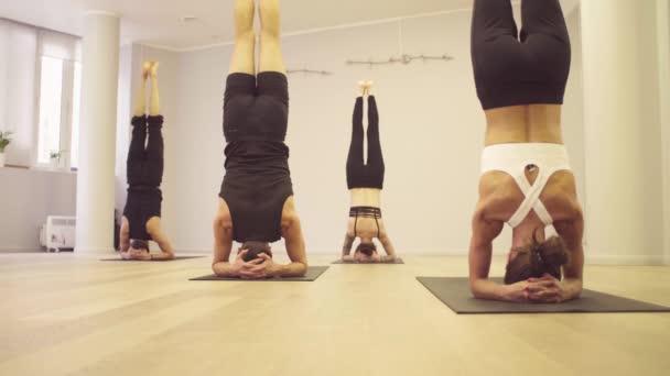 Yoga class. People doing yoga exercises